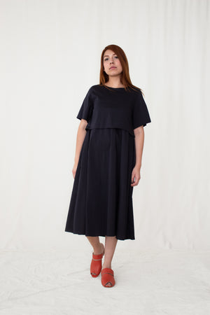 Dandelion Poplin Short-Sleeved Layered Dress
