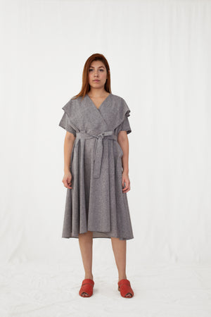 Ginger Melange Layered V-Neck Collar Dress