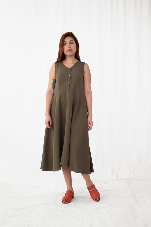 Nettle Linen-Blend Button Front Dress