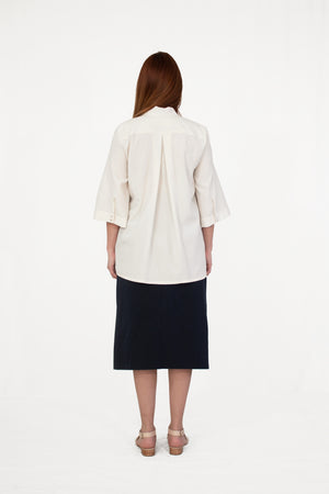 Valerian Short Sleeved Tie-Neck Blouse Ivory