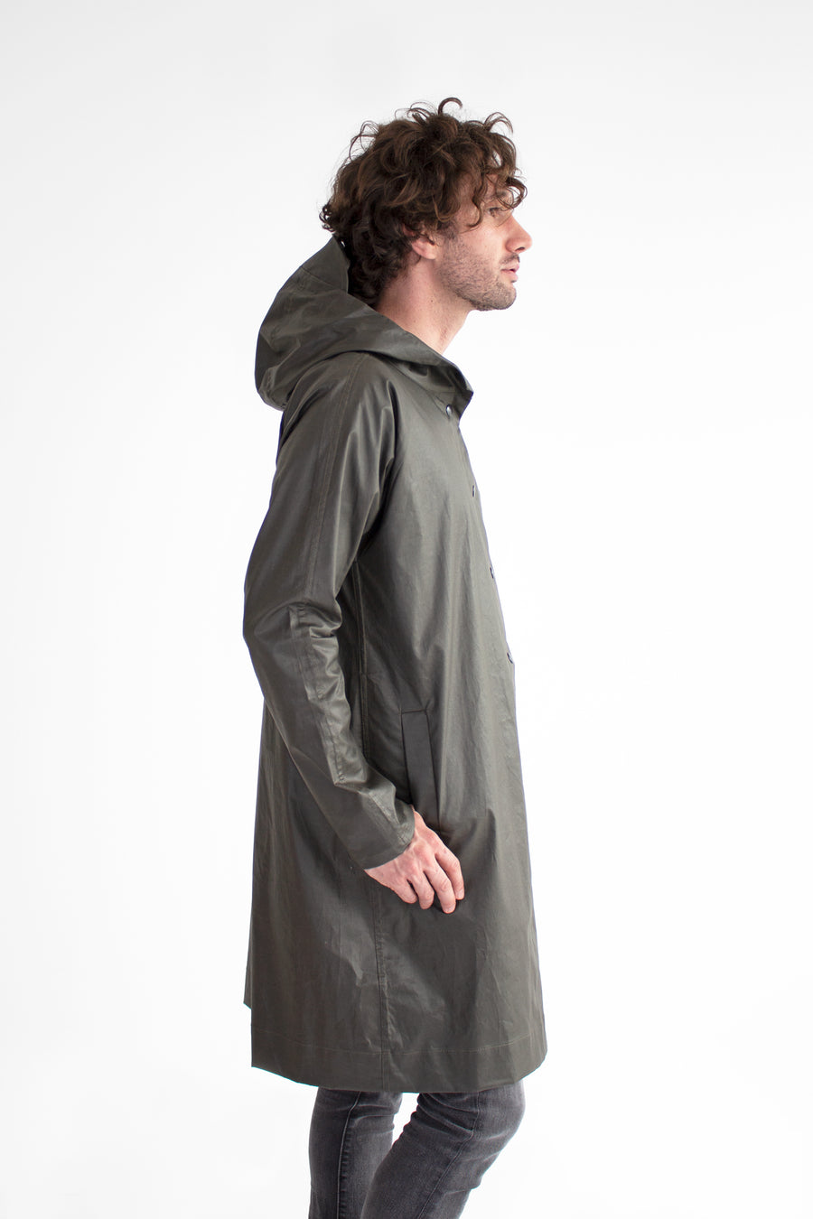 Luna Coated Twill Snap Button Coat