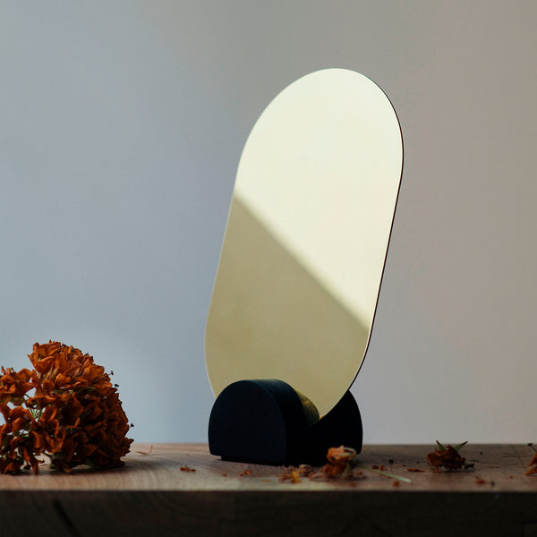 Laminated Brass and Wood Vanity Mirror. Estudio Pomelo. Made in Mexico