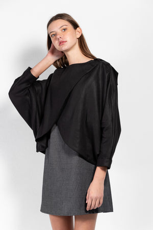 Andrea Linen Crossover Cape Top