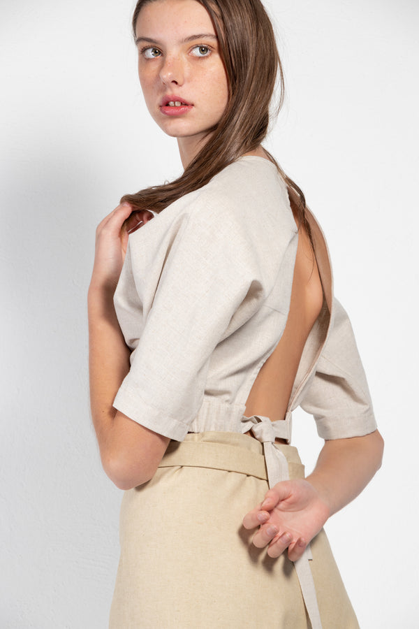 Arugula Linen Open Back Crop Top