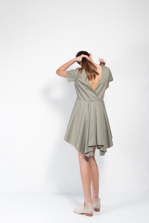 Bañador Open Back Pleated Cotton Dress