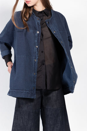 Delphinus Washed Denim Snap-Button Jacket