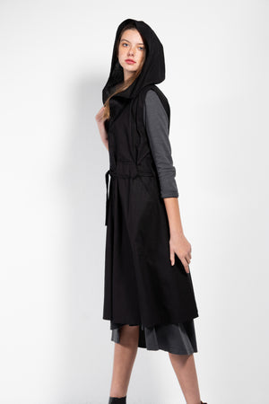 Mosser Hooded Full Zip Linen Blend Vest With Waist Tie