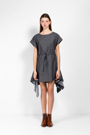Paris Cotton Chambray Drawstring Pointed Hem Dress