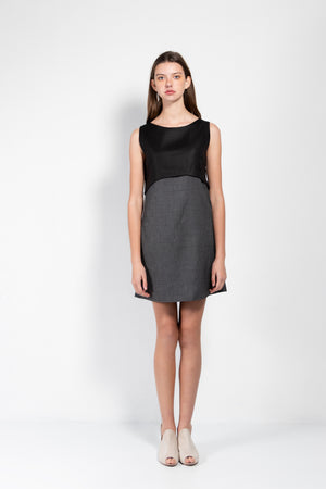 Paul Open Back Linen & Tweed Shift Dress