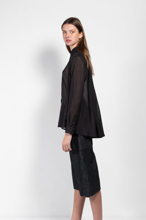 Shimomura Silk-Blend Flare Back Shirt