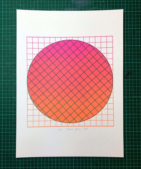 A3 Grid Magenta screen print