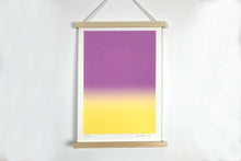 Load image into Gallery viewer, A3 Mauve and yellow screen print
