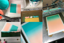 Load image into Gallery viewer, A2 Peach and teal screen print
