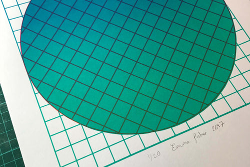 Grid Teal | A3 Screen print