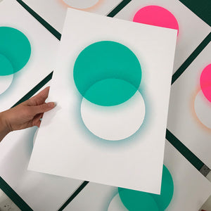 NEW A3 Eclipse screen print | Teal
