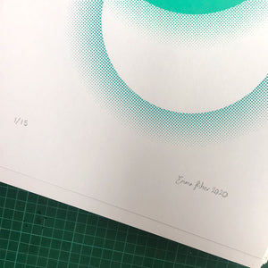 A3 Eclipse screen print | Teal