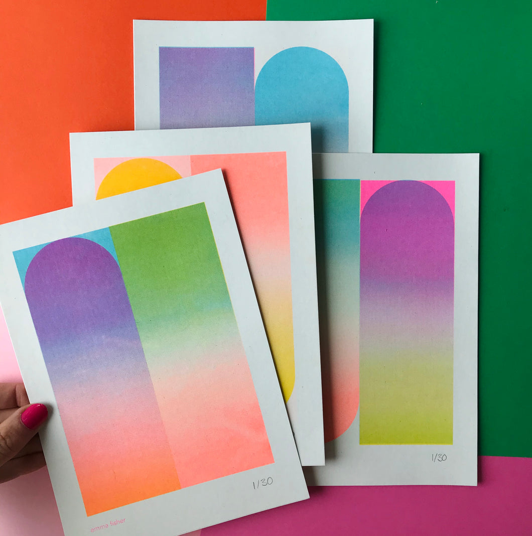A5 Gradient Riso Prints
