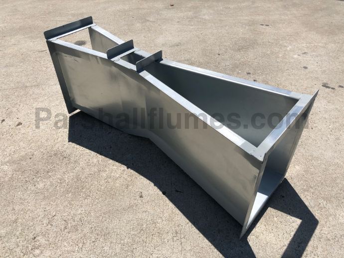 2-inch galvanized steel parshall flume - left side view