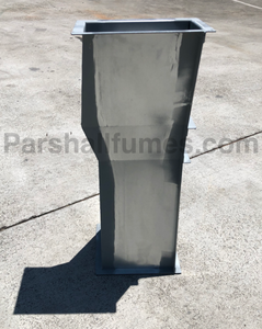 2-inch galvanized steel parshall flume - on end - showing throat drop