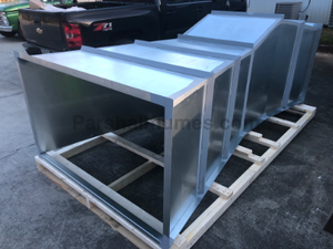 24-inch galvanized steel Parshall Flume packaged for shipment
