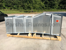 Load image into Gallery viewer, 24-inch galvanized steel parshall flume - palleted for shipping - side view
