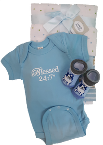 Blessed 24:7 Baby Onesie & Receiving Blanket Gift Set