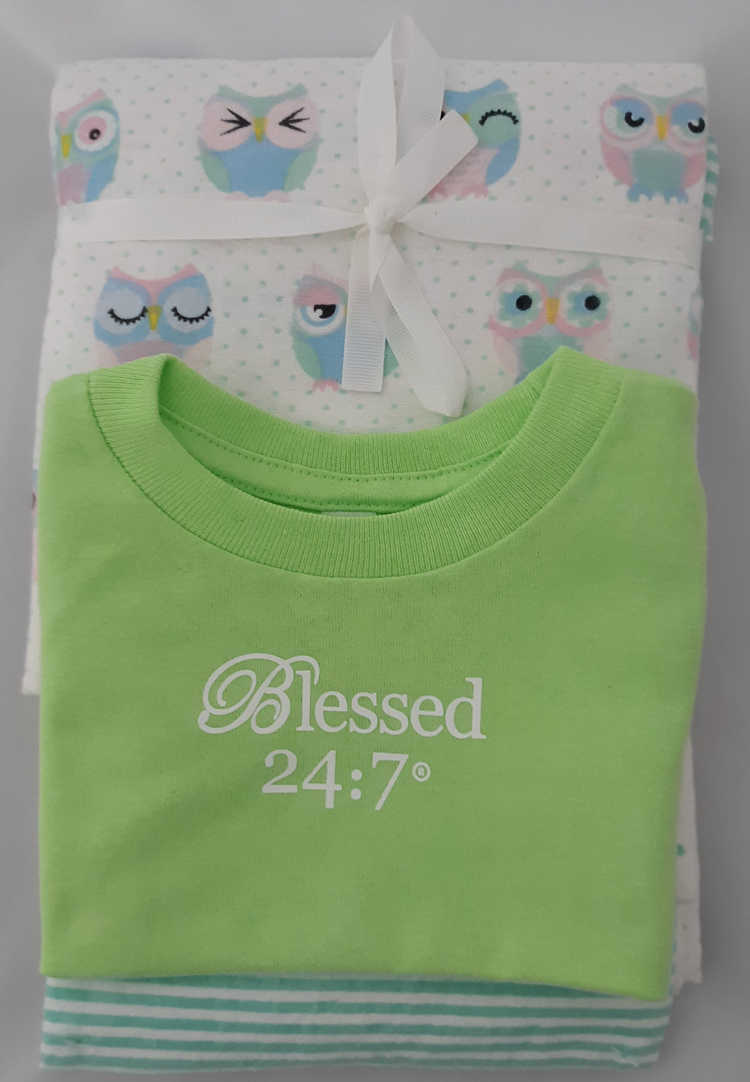 Baby Onesie & Receiving Blankets Green Set