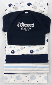 Baby Onesie & Receiving Blankets Navy Set