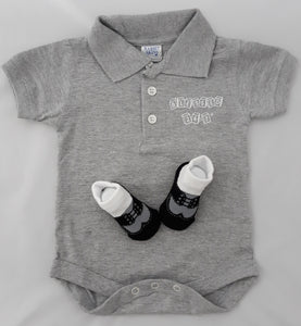 Baby Golf Shirt Onesie & Baby Socks Gray Set