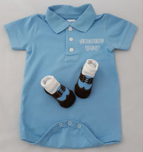 Load image into Gallery viewer, Baby Golf Shirt Onesie & Baby Socks Blue Set