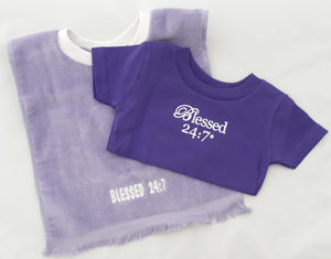Terry Velour Baby Bib & Baby Tshirt Purple Set