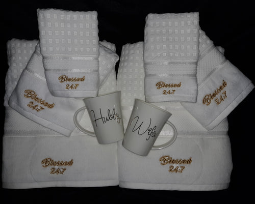 Blessed 24:7 Wedding/Anniversary Gift Towel Set with Hubby & Wifey Mugs