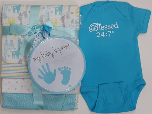 Blessed 24:7 Baby Shower Gift Set (Teal Blue)