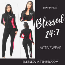 Load image into Gallery viewer, Blessed 24:7 Activewear Women's Black/Pink 2pc Set