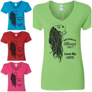 Blessed 24:7 (Love My LOCS) Ladies V-Neck T-shirts