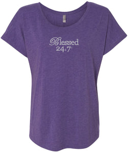 CLOSEOUT Blessed 24:7 (Bling) Crystal Rhinestones Ladies Tees