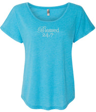 Load image into Gallery viewer, CLOSEOUT Blessed 24:7 (Bling) Crystal Rhinestones Ladies Tees