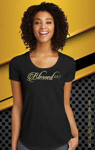 Blessed 24:7 Scoop Neck Gold Foil Print