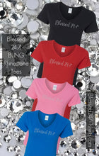Load image into Gallery viewer, Bling Rhinestone Blessed 24:7 (Ladies V-Neck) Tees