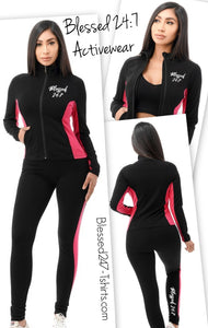 Blessed 24:7 Activewear Women's Black/Pink 2pc Set