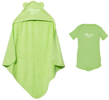Load image into Gallery viewer, Blessed 24:7 Baby Terry Cloth Hooded Towel with Ears & Baby Onesie