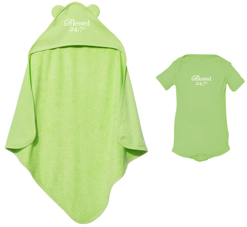 Blessed 24:7 Baby Terry Cloth Hooded Towel with Ears & Baby Onesie