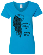 Load image into Gallery viewer, Blessed 24:7 (Love My LOCS) Ladies V-Neck T-shirts