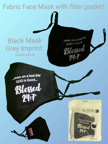 Blessed 24:7 Fabric Face Mask (Black)