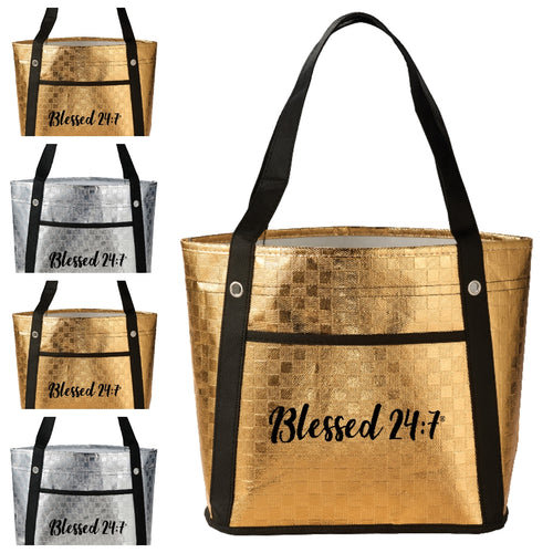 Blessed 24:7 Metallic Mini Tote