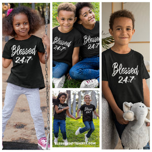 Blessed 24:7 (GLOW In the Dark) YOUTH T-shirts