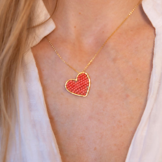 Gold Love Drop in Coral