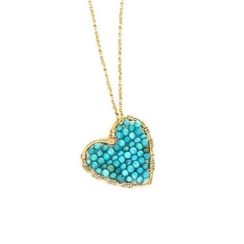 Gold Love Drop in Turquoise