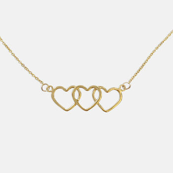 trinity three heart gold necklace