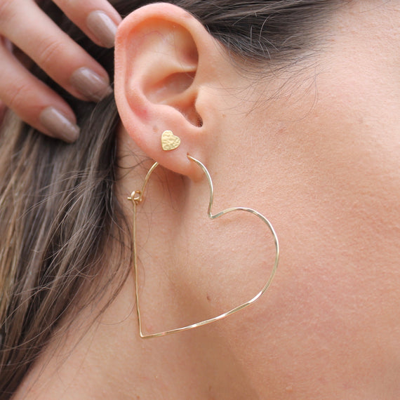 Gold Heart Hoops